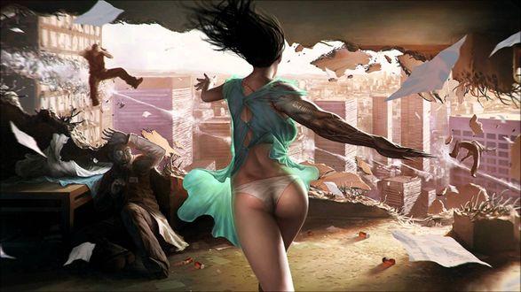 Обои Нападение девушки монстра на людей с разрушением стены жилья и разлетающимися во все стороны людьми