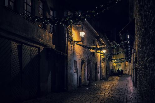 Обои Улицы ночного Таллина, Эстония / Tallinn, Estonia, автор Scorpio