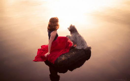 Обои Девушка с собакой сидят на камне среди водной глади