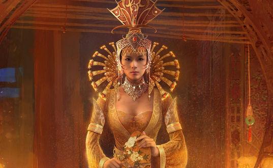 Обои Китайская принцесса в красивом наряде стоит и держит в руках веер с нарисованными цветами