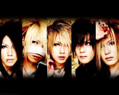 Обои Руки / Ruki, Рэйта / Reita, Аой / Aoi, Уруха / Uruha и Кай / Kai участники j-Rock группы The Gazette