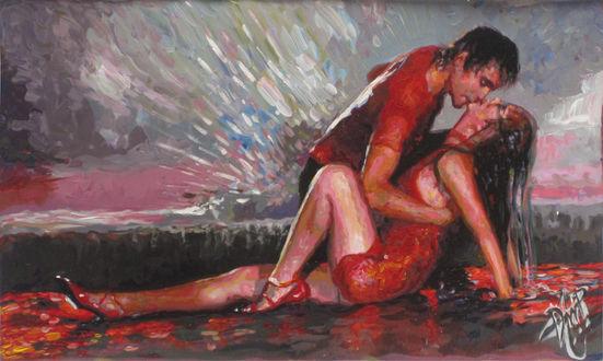 Обои Парень наклонился поцеловать девушку в красном платье, сидящую на скале засыпанной лепестками роз, на краю пропасти