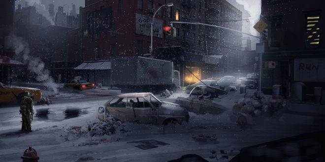 Обои Воин в специальной одежде, стоящий на заснеженной улице разрушенного после произошедшего апокалипсиса с удивлением смотрит на замерзшие автомобили, занесенные снегом с мертвецами в них, разрушенные коммуникации города