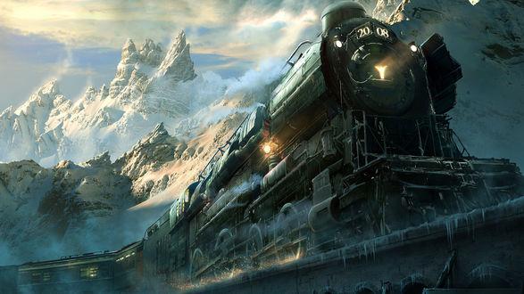 Обои Паровоз с прицепленными пассажирскими вагонами, мчащийся по каменному мосту с сосульками на фоне заснеженных пиков гор, освещенных солнечными лучами