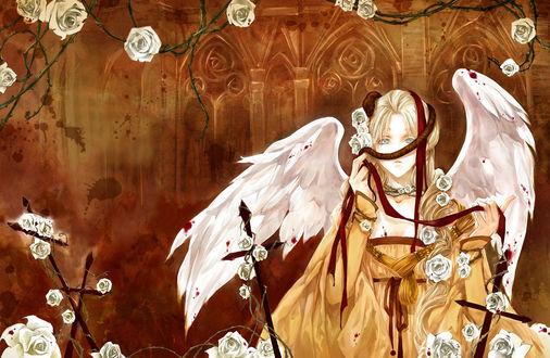 Обои Девушка-ангел, на голове которой змея