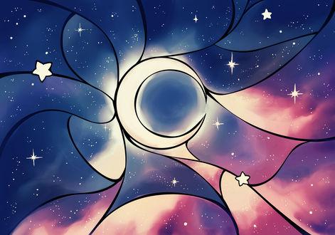 Обои Месяц на ночном небе, by Chibionpu