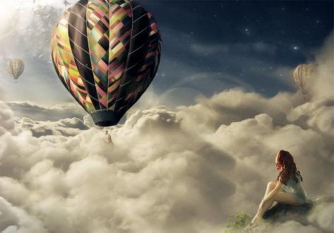 Обои Рыжеволосая, босоногая девушка, сидящая на скале наблюдает за полетом разноцветных, воздушных шаров над густыми, молочными облаками, автор Element OfO ne1