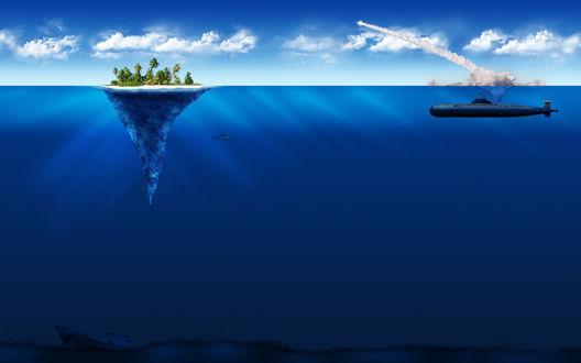 Обои Подводная лодка, находящаяся в подводном положении невдалеке от острова в форме воронки с растущими на нем пальмами, произвела выстрел ракетой с инверсионным слоем дыма на голубом небе с белыми кучевыми облаками