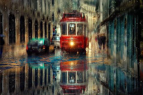 Обои Трамвай с включенной фарой, автомобили и люди под зонтиками, идущие по мокрым, городскими улицам после прошедшего сильного дождя ночного города