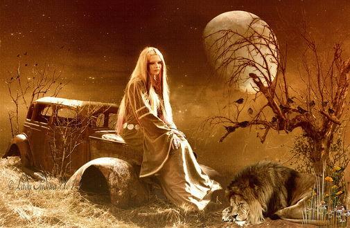 Обои Светловолосая девушка, сидящая на капоте старого, брошенного автомобиля невдалеке от дерева с сидящими на нем птицами, растущими цветами и спящим львом на фоне ночного небосклона с взошедшей планетой, автор Lady Judina