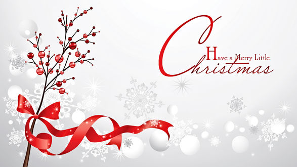 Обои Веточка с ягодами, перевязанная красной лентой и снежинки, Have a merry little Christmas / Веселого небольшого Рождества