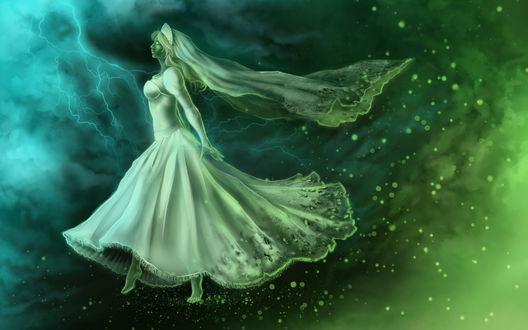 Обои Девушка-призрак в свадебном одеянии на фоне грозового неба и сверкающих молний