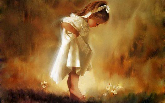 Обои Маленькая девочка в белом платьице смотрит вниз, художник Доналд Золан