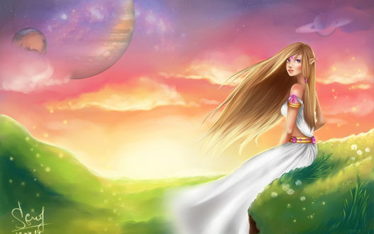 Обои Светловолосая девушка-эльфийка, сидящая на зеленом косогоре с цветущими вокруг нее цветами на фоне ослепительных лучей солнца на вечернем небосклоне и парада планет солнечной системы