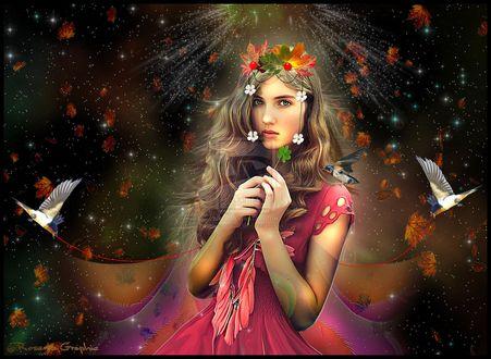 Обои Девушка в веночке из листьев и ягод на голове стоит на фоне падающих осенних листьев, держит в руках белый цветок, с сиянием над головой и летающими вокруг птичками