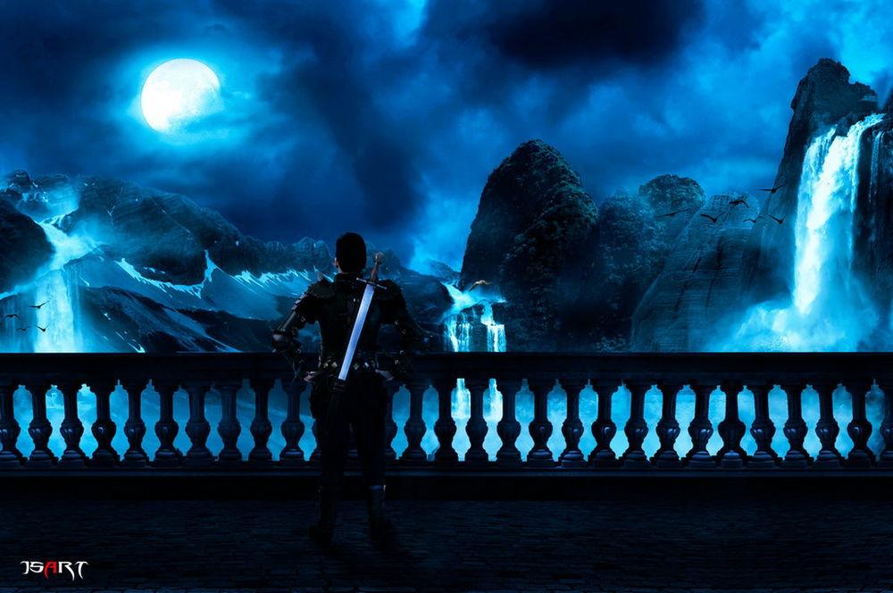 Обои для рабочего стола Мужчина-воин с обнаженным мечом за спиной, стоящий у перил на каменной площадке, любуется ночным небом с ярко светящейся луной, заснеженными горами с падающими с них водопадами, парящих в воздухе птиц, автор jspanda