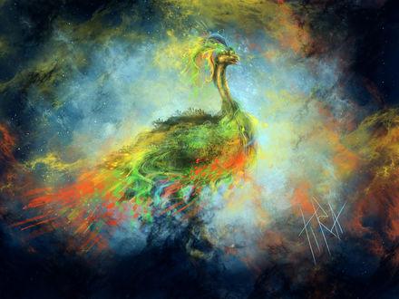 Обои Мифическая жар-птица на абстрактном фоне