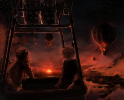 Обои Два парня летят на воздушном шаре любуются закатом, art by yuruikarameru