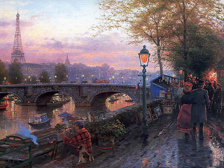 Обои Набережная, переходящая в мост над судоходной рекой, по которой прогуливаются люди, тут же сидит художник, пишет картины, рядом с ним маленький щенок