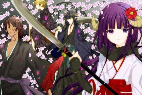 Обои Герои аниме Inu x— Boku SS / Пес и я: Секретная служба на фоне цветущей сакуры