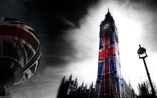Обои Биг - Бен / Big Ben / и воздушный шар с национальной символикой Великобритании
