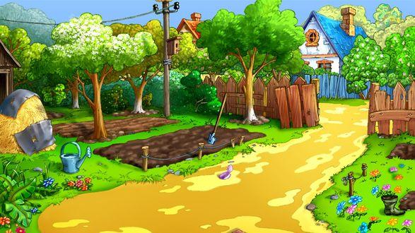Обои Дорожка, проходящая через открытую калитку в деревянном заборе, ведущая к грядкам, расположенным на зеленой лужайке с садовым инвентарем