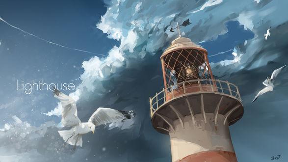 Обои Маяк, вокруг которого летают чайки (Lighthouse)