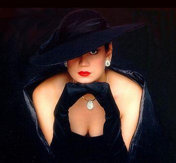 Обои Девушка в черном платье, черной широкополой шляпе сидит подперев голову руками в черных длинных перчатках на черном фоне