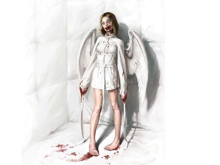 Обои Кровавый ангел в белом