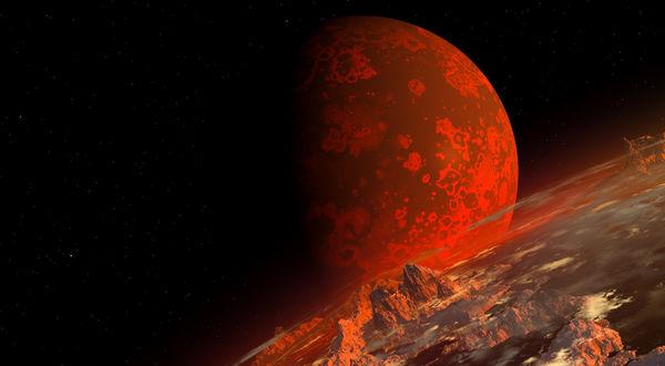 Обои Неизвестная красная планета в космосе