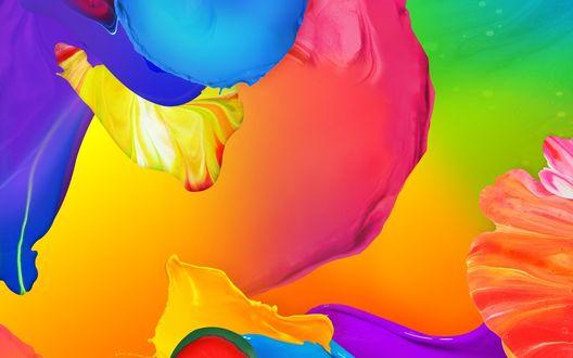 Обои Абстракция из разводов ярких разноцветных красок