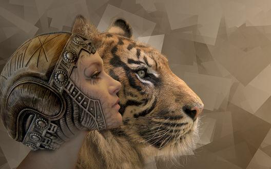 Обои Голова тигра и девушки в необычном головном уборе на фоне абстракции