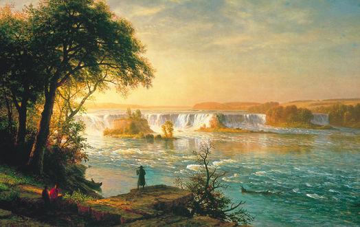 Обои Две женщины, сидящие на камнях на берегу реки с образующимися на ней водопадами, рядом стоит мужчина в широкополой шляпе с деревянным шестом и смотрит на другого мужчину, сидящего в лодке у берега реки на рассвете на фоне утреннего небосклона с разноцветными облаками