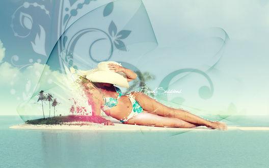 Обои Девушка в пляжном костюме и широкополой шляпе лежит возле макета острова с пальмами на фоне абстрактного рисунка, Beach Sessions