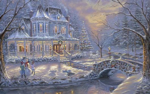Обои Зимний вечер у сказочного домика, художник Robert Finale