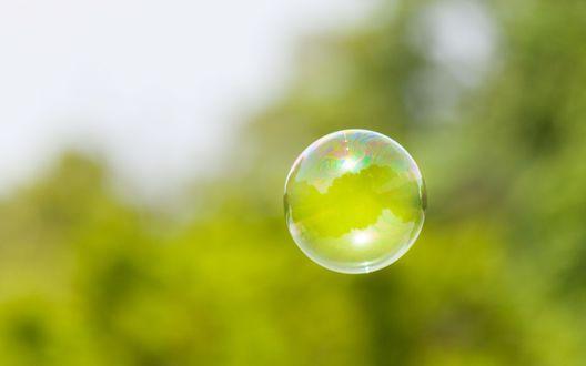 Обои Мыльный пузырь на размытом фоне