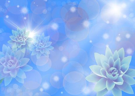 Обои Голубые цветы на абстракции