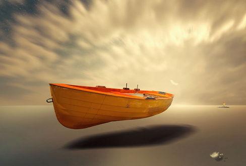Обои Оранжевая лодка, парящая над поверхностью воды к удивлению человека, стоящего на крошечном островке на фоне небосклона с золотистым, солнечным свечением, автор Garas Ionut