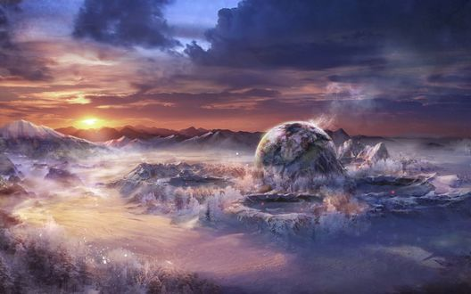 Обои Загадочная планета с фантастическим ландшафтом