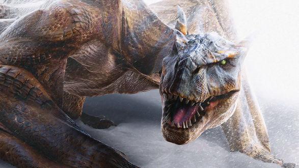Обои Хищный динозавр ощетинился, раскрыв зубастую пасть