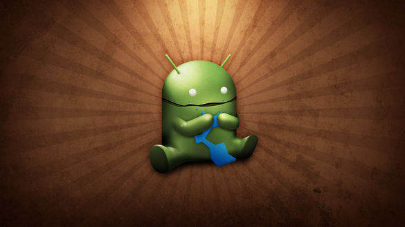 Обои Смешной логотип Андроида на коричневом фоне