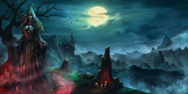 Обои Ведьма с сидящим у нее на плече вороном, стоящая в ярко освещенном кругу невдалеке от камня с горящими свечами и лежащим возле них черепом на фоне ночного неба с ярко светящейся луной, гор и каменного замка, парящих в воздухе птиц
