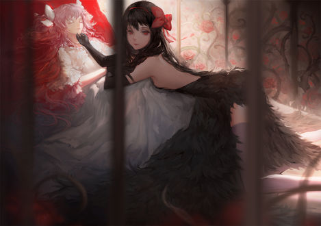 Обои Хомура Акэми / Akemi Homura и Мадока Канамэ / Madoka Kaname из аниме Mahou Shoujo Madoka Magica / Девочка-волшебница Мадока Магика