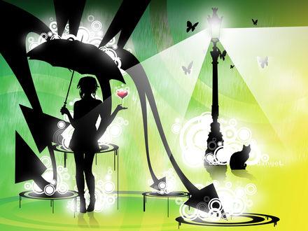 Обои Силуэт девушки с зонтом и сердцем в руке, при свете уличного фонаря