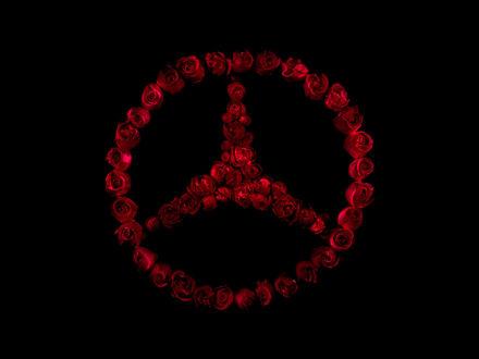 Обои Логотип Mercedes-Benz выложен из роз