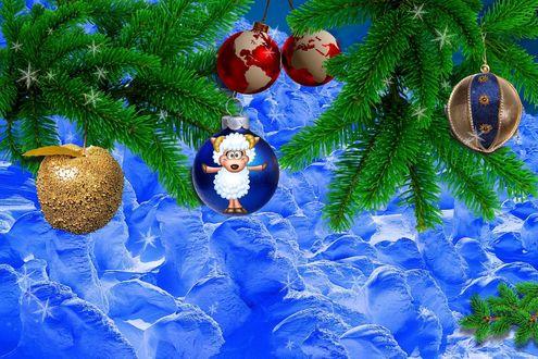 Обои Новогодние шары висят на елочных ветках на голубом фоне, на одном шаре изображена белая овечка