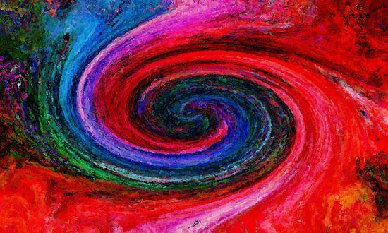 Обои Вращение по спирали к центру цветных красок