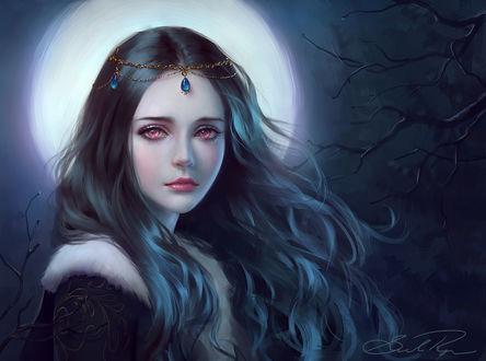 Обои Темноволосая девушка на фоне ночного неба и полной луны