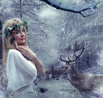 Обои Светловолосая девушка с венком из зеленых листьев, стоящая в легком, белом платье на заснеженной, лесной дорожке рядом с ветвистым оленем, вдалеке виден Санта-Клаус с подарками, автор dheean