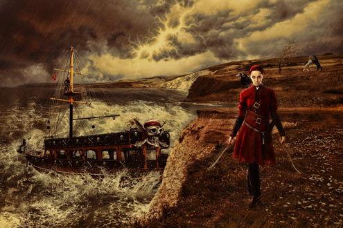 Обои Девушка-пиратка в красном камзоле с саблями в руках, идущая по берегу бушующего моря под сильным дождем, со стоящим в море пиратским кораблем на фоне сверкающих молний и грозового неба, автор Mahhona